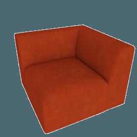 Juno modular - Corner End Seat, Flame Orange Velvet