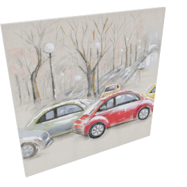 Cars Painting - 100x2.8x100 cms