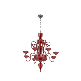 Murano Glass Chandelier - Red