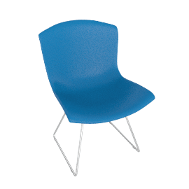 Bertoia Plastic Chair, Blue Shell, Chrome Frame