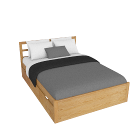 Ollie Storage Bed Double, Oak