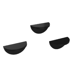 Half Moon Shelf Set Of 3Pcs, HG Black