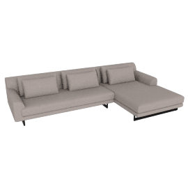 Lecco Sectional with Chaise, Kalahari leather - Grey with Black Base