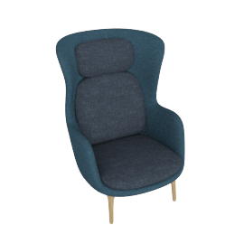 Ro Lounge Chair, Dark Blue