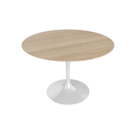 Saarinen Round Dining Table 42'', Veneer - White.LtOak