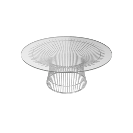 Platner Coffee Table, Glass Top Nickel Base