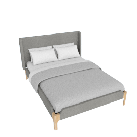 Roscoe King size bed, Cool Grey