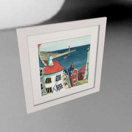 Catherine Stephenson- Coastal Town 3 Framed Print, 65 x 65cm
