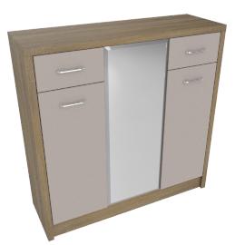 Hayden 30 Pairs 3Dr Shoe Cabinet W/Mirr, HG Cream/L.Oak