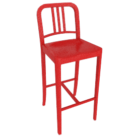 111 Navy Barstool, Coca-Cola Red