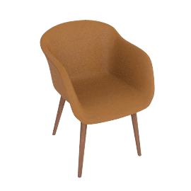 Fiber Chair, Leather -Cognac, Leg -Walnut