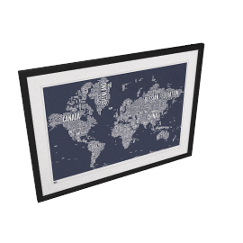 Bold & Noble - World Map Framed Print, 84 x 115cm