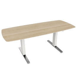 Renew Executive Sit-to-Stand Desk with Advanced Cord Management:, Ash Top and White / Polished Aluminum Legs