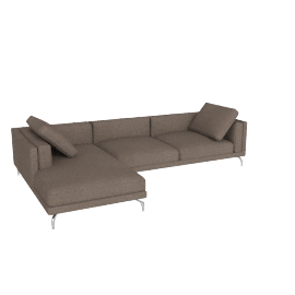 Como Sectional Chaise, Linen Weave, Khaki