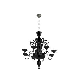 Murano Glass Chandelier - Black