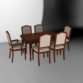 Ashley Juego de comedor Exton 4 sillas + 2 sitiales