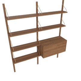 Royal System Shelving Unit B with Desk Cabinet