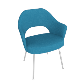 Saarinen Executive Armchair with Metal Legs, Knoll Boucle Aegean