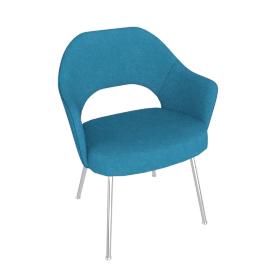 Saarinen Executive Armchair with Metal Legs, Knoll Boucle Aegean