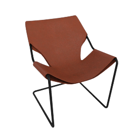 Paulistano Armchair in Leather, Black Frame with Terra Cotta