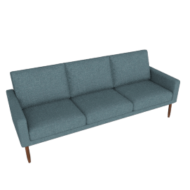 Raleigh Sofa, Robin's Egg with Walnut Base