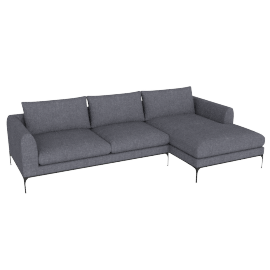 Jonas Sectional with Chaise, Fabric: Pebble Weave Pumice Leg: Black