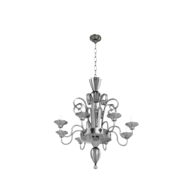 Murano Glass Chandelier - Smoke
