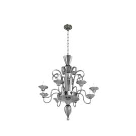 Murano Glass Chandelier - Smoke