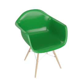 Eames Molded Fiberglass Dowel-Leg Armchair (DFAW), Green with Chrome Base and Maple Leg