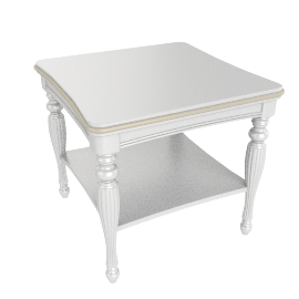 Ariel End Table, Pearl White / Gold