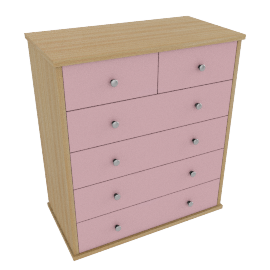 Corey 6 Drawer Chest, Pink