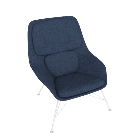 Striad Chair, Mid Back with Wire base, Noble Heathered Twilight/Black Shell with White base