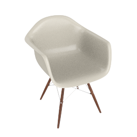 Eames Molded Fiberglass Dowel-Leg Armchair (DFAW), Parchment with Chrome Base and Walnut Leg