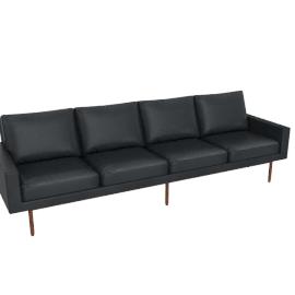 Raleigh Four-Seater, Frame -Walnut, Vienna Leather -Ebony