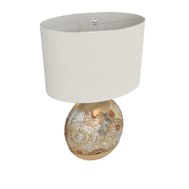 Dry Lemon Resin Table Lamp 63Cmh- Gold With Silver