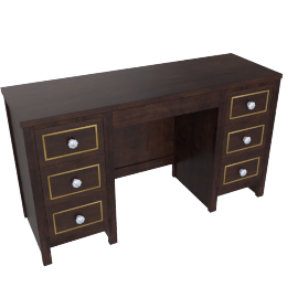 Indiana 7 Drwr Dressing Table-D.Brn/Ant. Gold