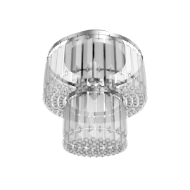 Elena 2 Tier Crystal Bars Flush Ceiling Light