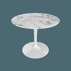 Saarinen Round Dining Table 35'', Coated Marble 1 - Wht.Arabescato