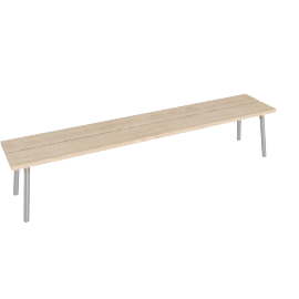 Run 4-Seat Bench, Ash Top Aluminum Legs