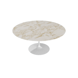 Saarinen Round Dining Table 60'', Natural Marble - Wht.CalacGold