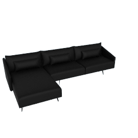 Costura Sectional with Chaise, Elmo Baltique Leather - Black