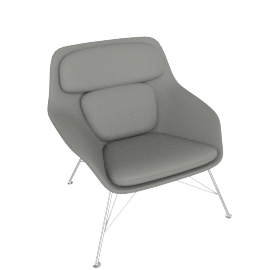 Striad Chair, Low Back with Wire base, MCL Leather Grey, Wire, Trivalent Chrome