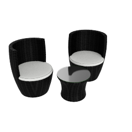 Alanzo Outdoor Patio Set, Black