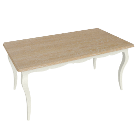 Anjoux 6 Seater Dining Table, Antique Cream