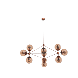 Modo Chandelier - 3 Sided - 10 Globe - Copper