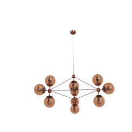 Modo Chandelier - 3 Sided - 10 Globe - Copper