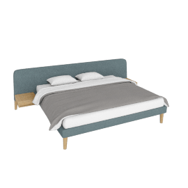 Parallel Wide King Bed, Ducale Wool Robin's Egg with Oak legs