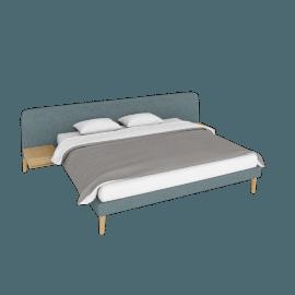 Parallel Wide King Bed, Ducale Wool Robin's Egg with Oak legs