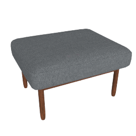 Raleigh Ottoman , Frame -Walnut, Fabric -Boucle: Granite