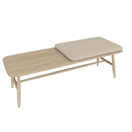 Von Bench with Leather Seat Pad, Ash / Natural